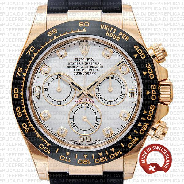 Rolex Oyster Perpetual Cosmograph Daytona 18k Yellow Gold White MOP Dial Diamond Markers