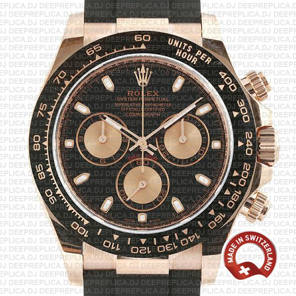 Rolex Cosmograph Daytona 18k Rose Gold Black Dial, comes with Rubber Strap Swiss Replica 40mm