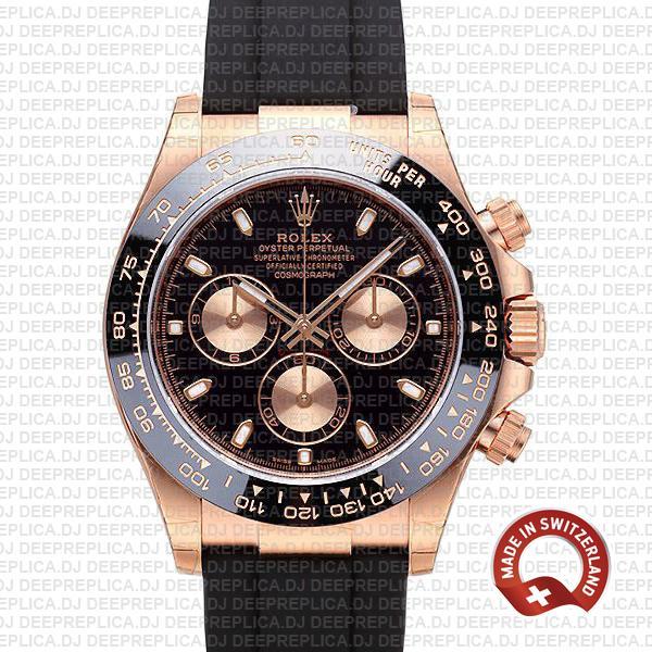 Rolex Daytona 18k Rose Gold Black Dial | Swiss Replica Watch