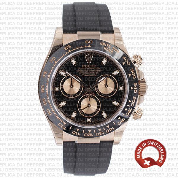 Rolex Daytona 18k Rose Gold Black Dial Swiss Replica Watch