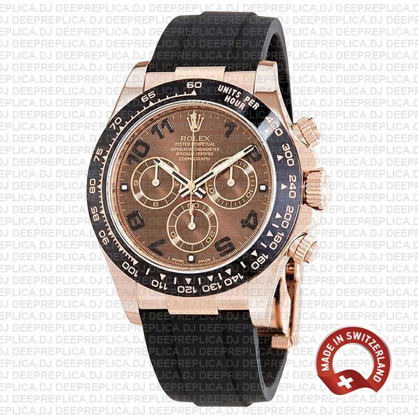Rolex Daytona Chocolate Arabic Dial 18k Rose Gold Replica