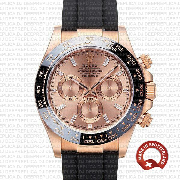 Rolex Cosmograph Daytona 18k Rose Gold 904L Steel Pink Dial Moissanite Baguette Diamond Markers