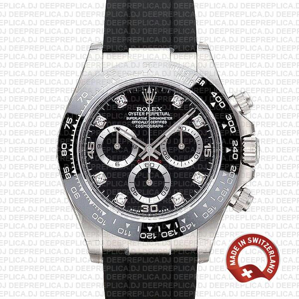 Rolex Daytona White Gold Black Diamond Dial   Replica Watch