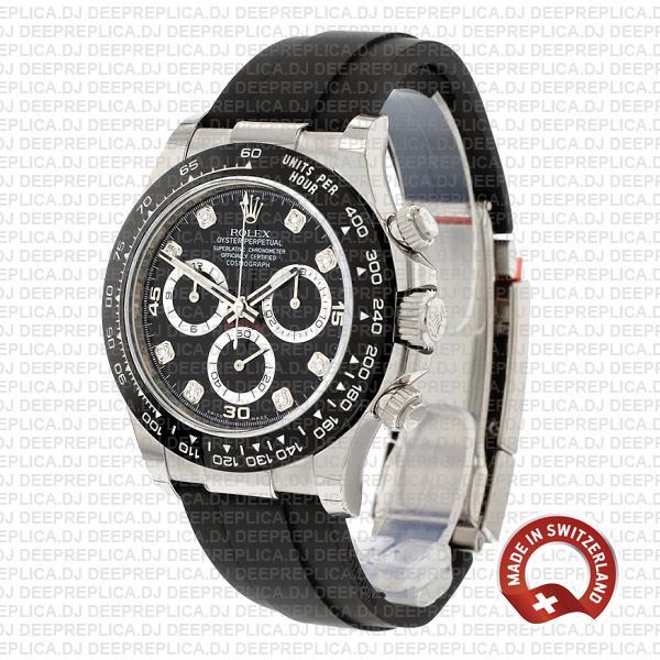 Rolex Daytona White Gold Black Diamond Dial Swiss Replica Watch