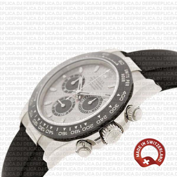 Rolex Cosmograph Daytona 18k White Gold Silver Panda Dial, Ceramic Bezel with Oysterflex Rubber Bracelet 40mm