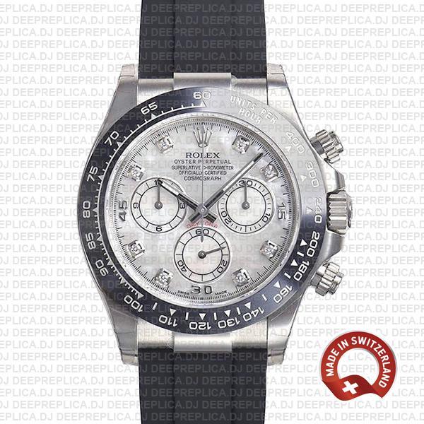 Rolex Daytona White Gold Diamond Dial   Swiss Replica Watch