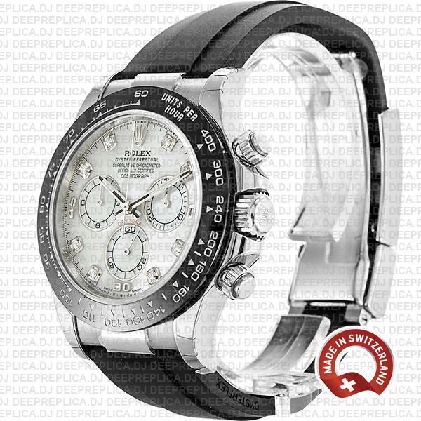 Rolex Cosmograph Daytona 18k White Gold White MOP Dial Diamond Markers Rubber Bracelet Ceramic Bezel 40mm Watch