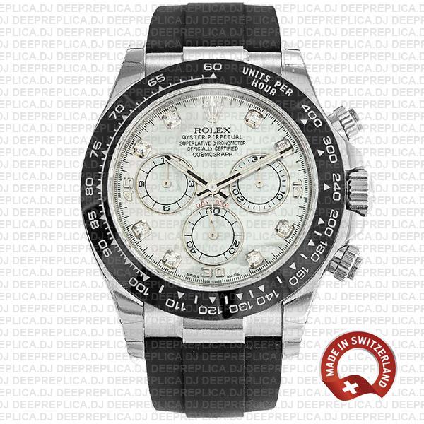 Rolex Cosmograph Daytona 18k White Gold White MOP Dial Diamond Markers Rubber Bracelet Ceramic Bezel 40mm