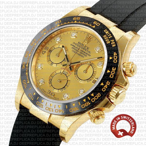 Rolex Cosmograph Daytona 18k Yellow Gold, Ceramic Bezel 904L Steel Gold Dial Diamond Markers