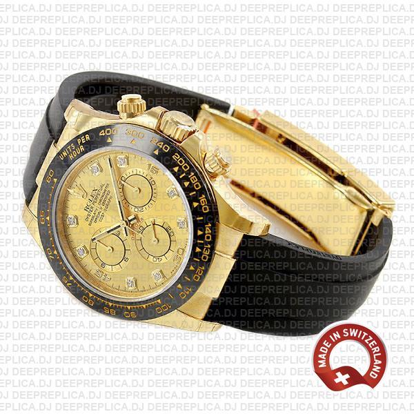 Rolex Cosmograph Daytona 18k Yellow Gold, Ceramic Bezel 904L Steel Gold Dial Diamond Markers Replica Watch