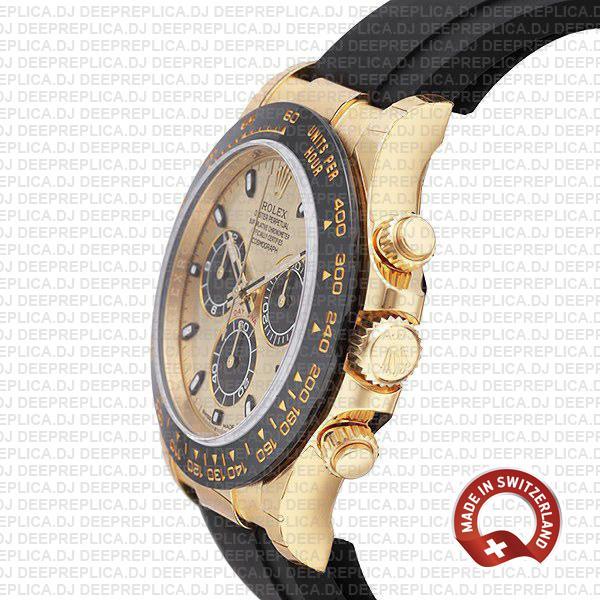 Rolex Daytona Yellow Gold Panda Dial Rubber Strap Watch