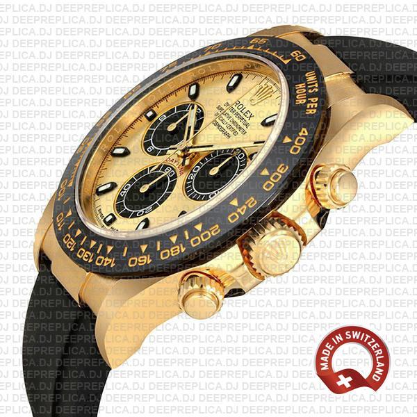 Rolex Daytona Yellow Gold Panda Dial Rubber Strap Replica Watch