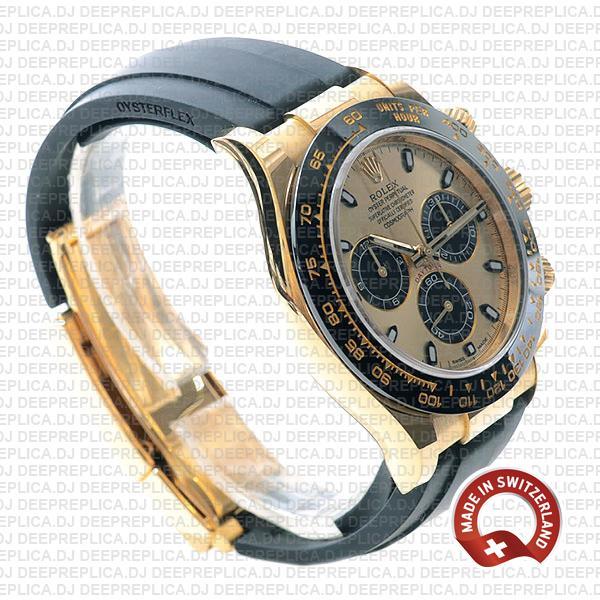 Rolex Daytona Rubber Yellow Gold Panda Gold Dial Ceramic Bezel 40mm 116518ln