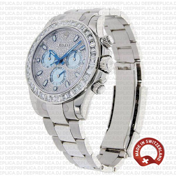 Rolex Oyster Perpetual Cosmograph Daytona in Platinum Diamond Dial & Bezel with Ice Blue Subdials