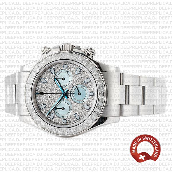 Rolex Oyster Perpetual Cosmograph Daytona in Platinum Diamond Dial & Bezel with Ice Blue Subdials Luxury Replica Watch