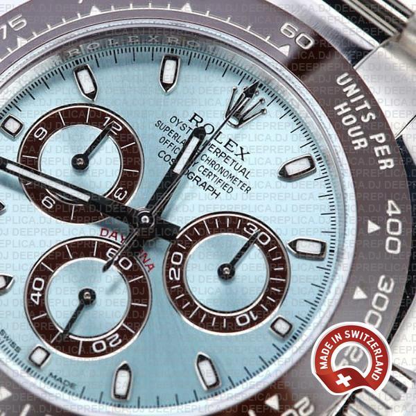 Rolex Cosmograph Daytona 904L Steel Ice Blue Dial Ceramic Bezel 950 Platinum 40mm Oyster Bracelet Stainless Steel Watch