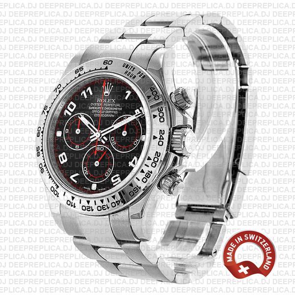 Rolex Cosmograph Daytona 904L Steel Oyster Bracelet Rolex Replica with 18k White Gold Black Arabic Dial