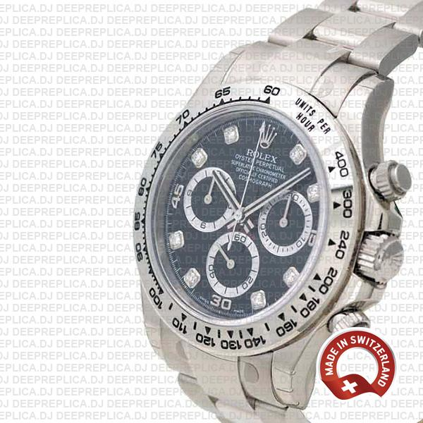 Rolex Oyster Perpetual Cosmograph Daytona 18k White Gold Black Diamond Dial 40mm Replica Watch