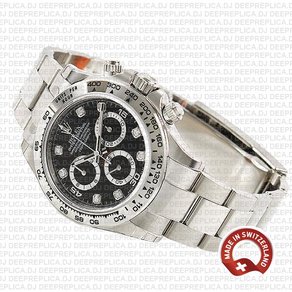 Rolex Oyster Perpetual Cosmograph Daytona 18k White Gold Black Diamond Dial 40mm