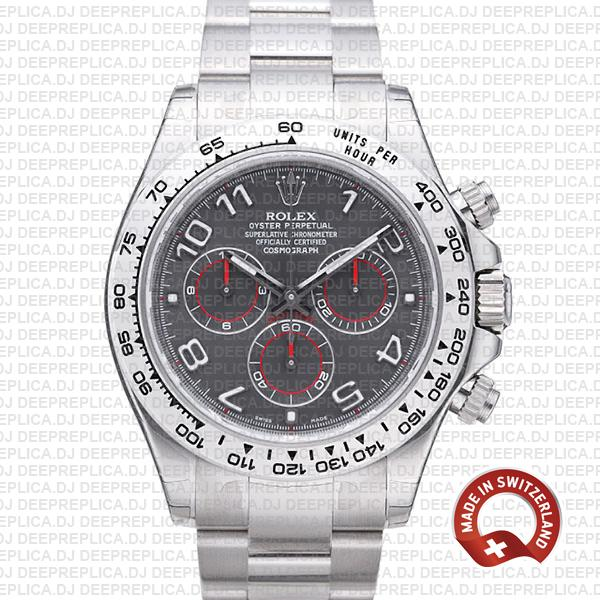 Rolex Daytona Stainless Steel 18k White Gold, Grey Dial with Arabic Markers 904L Steel Replica Watch