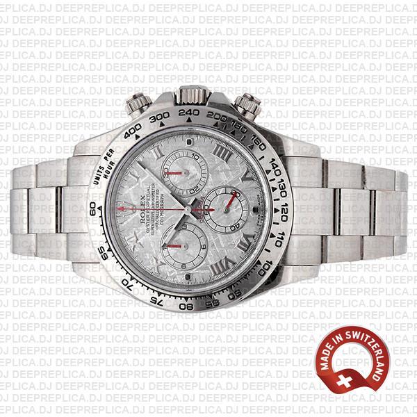 Rolex Cosmograph Daytona 18k White Gold Stainless Steel 116509 Replica Watch, Meteorite Dial Replica Watch