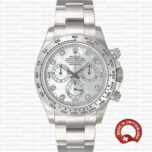 Best Replica Rolex Daytona White Gold Diamond Dial Watch