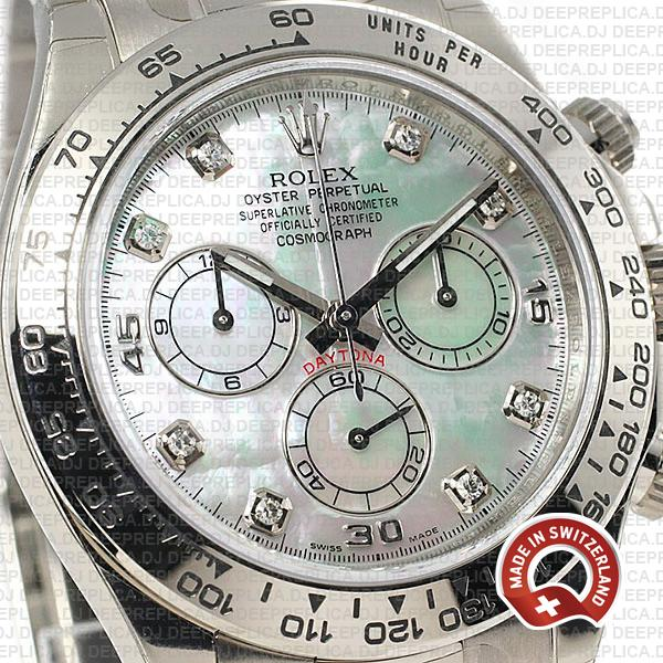 Rolex Daytona 18k White Gold 904L Stainless Steel Mop White Dial with Moissanite Diamond Markers