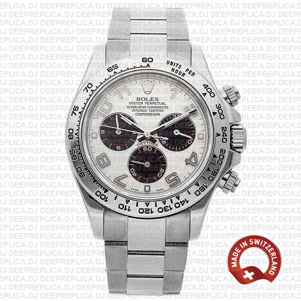 High Quality Rolex Cosmograph Daytona 18k White Gold Replica Watch, White Arabic Dial Replica Watch