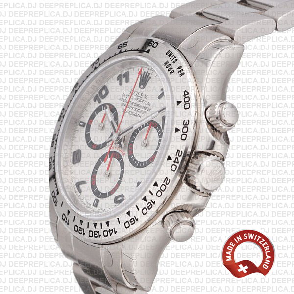 Oyster Perpetual Rolex Daytona Stainless Steel 18k White Gold Rolex Replica Watch