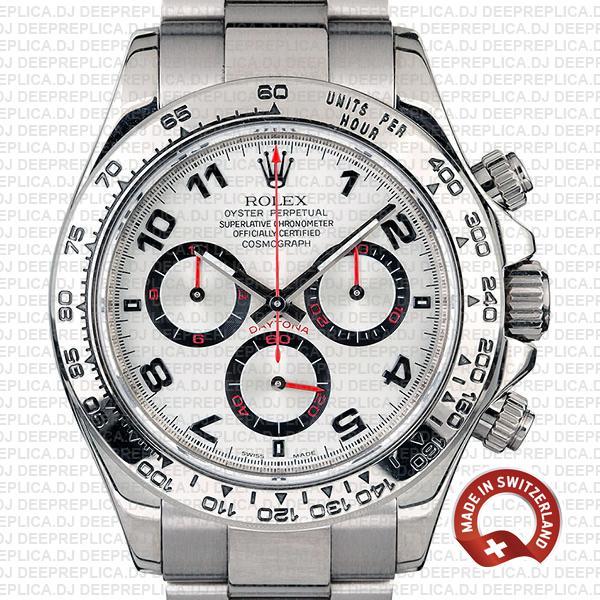 Rolex Daytona White Gold Arabic Dial Swiss Replica Watch