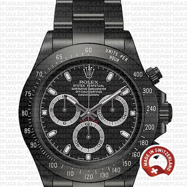 Best Replica Rolex Cosmograph Daytona DLC Stainless Steel Black Dial