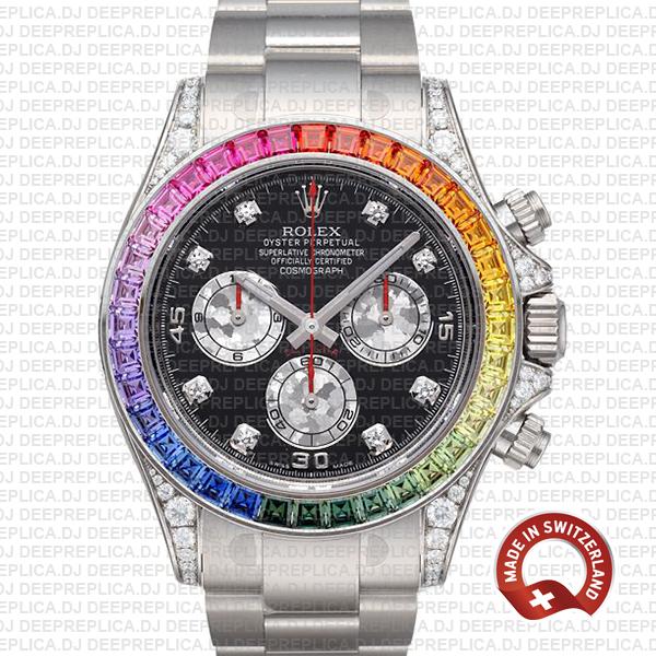 Rolex Daytona Rainbow Bezel Black Diamond Replica Watch