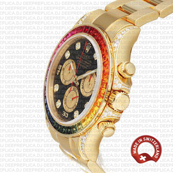 Rolex Cosmograph Daytona 40mm 18k Yellow Gold Black Diamond Dial with Rainbow Sapphire Bezel Replica Watch