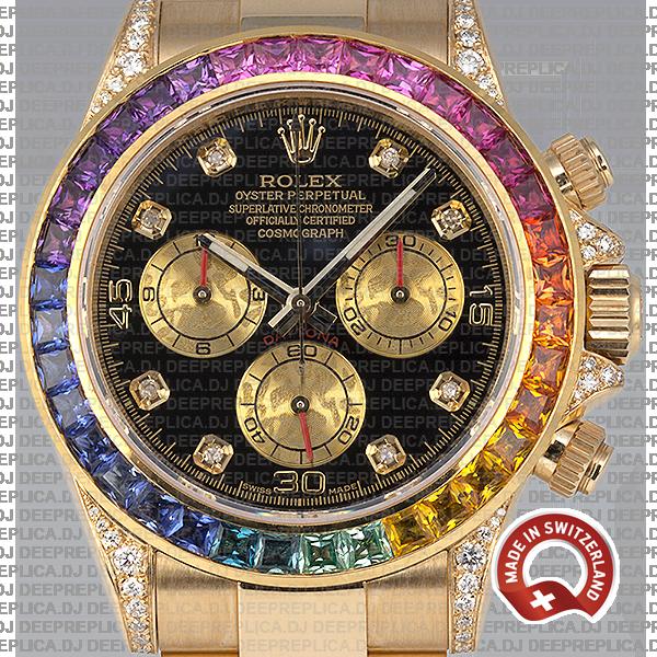 Rolex Cosmograph Daytona 40mm 18k Yellow Gold Black Diamond Dial with Rainbow Sapphire Bezel