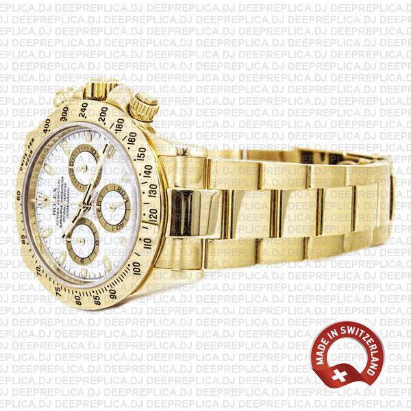 Rolex Daytona Yellow Gold White Dial Chronograph Swiss Replica 116528