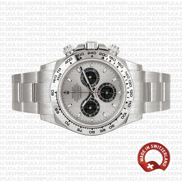 Rolex Daytona 18k White Gold Steel Dial 40mm Rolex Replica Watch