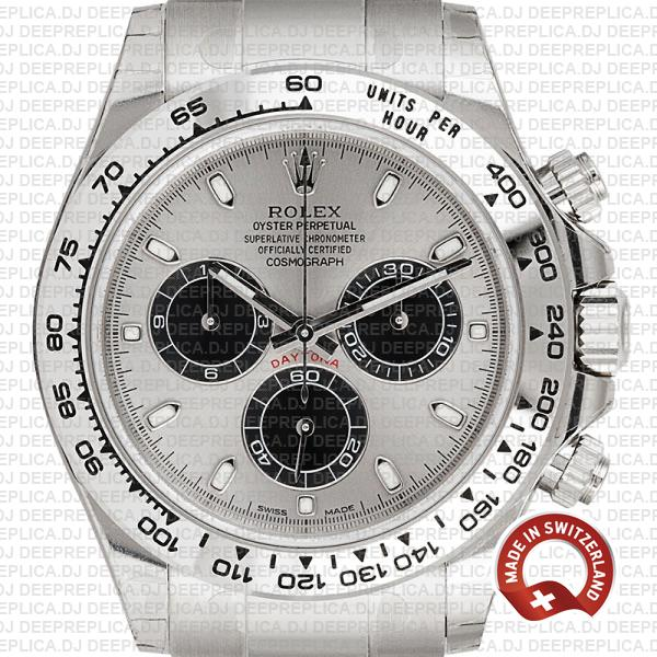 Rolex Oyster Perpetual Daytona 18k White Gold, Steel Panda Dial with Black Subdials, Stainless Steel Oyster Bracelet