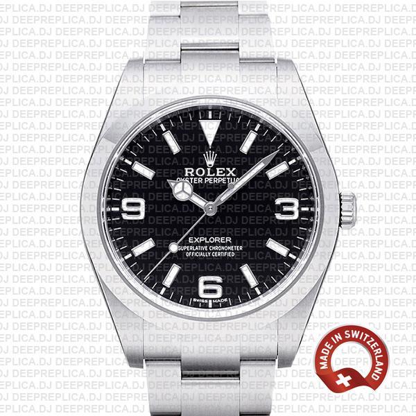 Rolex Explorer Black Dial 39mm | Best Swiss Replica Watch