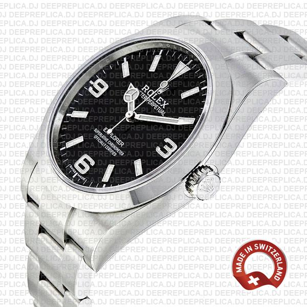 High Quality Rolex Explorer 1 904L Steel Black Dial, Smooth Bezel & Stainless Steel Oyster Bracelet 39mm Replica Watch