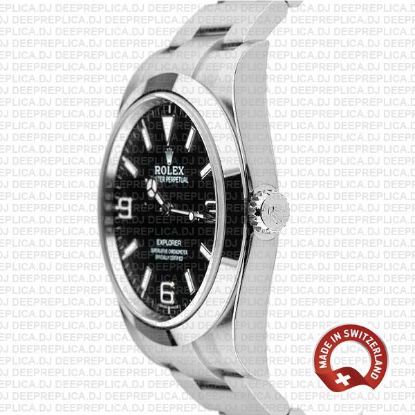 High Quality Rolex Explorer 1 904L Steel Black Dial, Smooth Bezel & Stainless Steel Oyster Bracelet 39mm