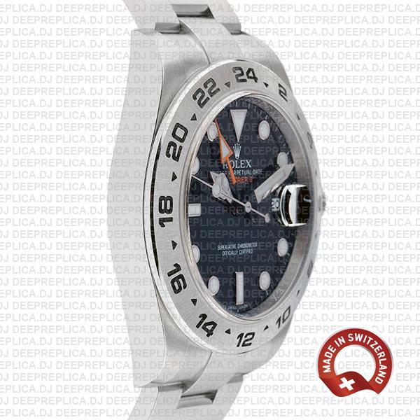 Rolex Explorer II Oyster Perpetual 904L Steel Date Replica Watch in Black Dial