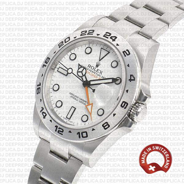 Rolex Explorer II Oyster Perpetual 904L Steel Date Watch in White Dial with Fixed Bezel Explorer model 216570 Rolex Replica Watch