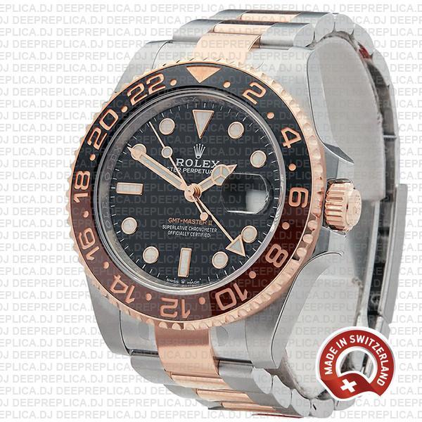 Rolex GMT-Master II Rose Gold Two Tone in Black Dial & Brown Black Ceramic Bezel 40mm Replica Watch