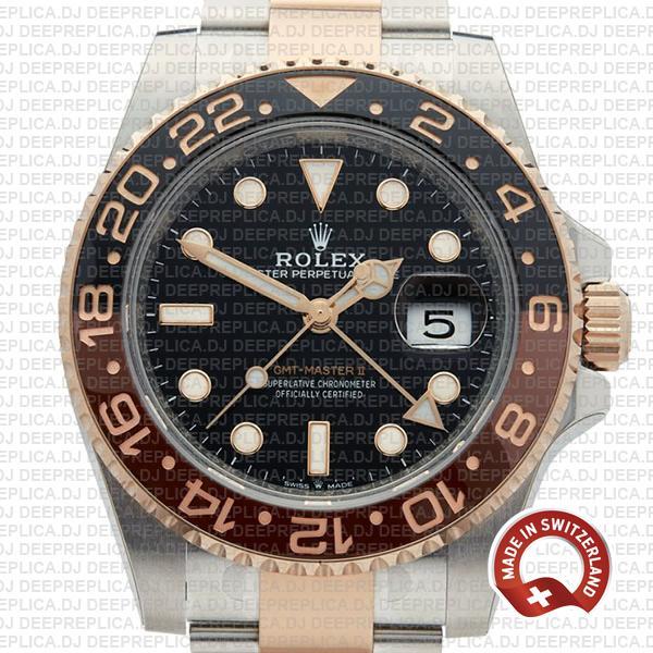 Rolex GMT-Master II Replica Two Tone Rose Gold Rolex Watch