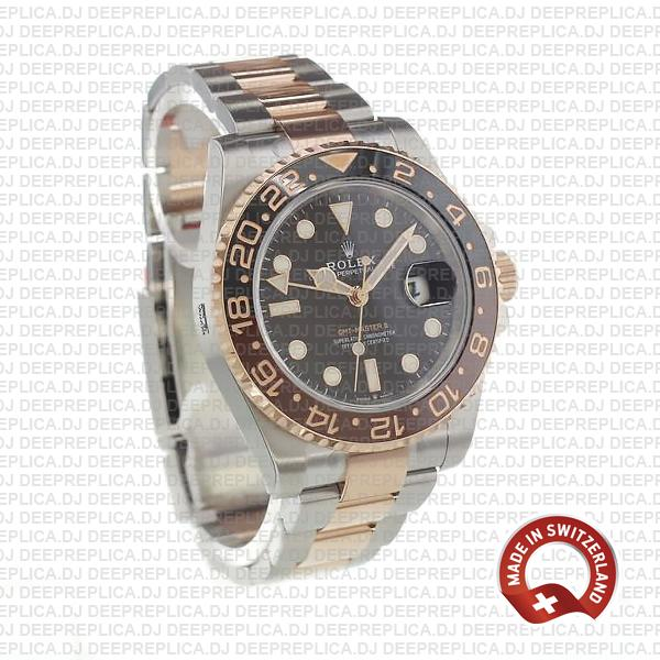 Rolex GMT-Master II Rose Gold Two Tone in Black Dial & Brown Black Ceramic Bezel