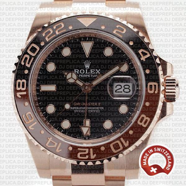 Swiss Made Rolex GMT-Master II 18k Rose Gold Root Beer Brown Black Ceramic Bezel