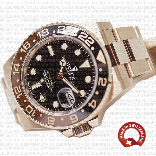 Swiss Made Rolex GMT-Master II 18k Rose Gold Root Beer Brown Black Ceramic Bezel Replica Watch