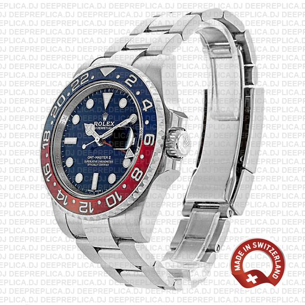 Rolex GMT-Master II 18k White Gold in Pepsi Red Blue Ceramic Bezel Blue Dial 40mm