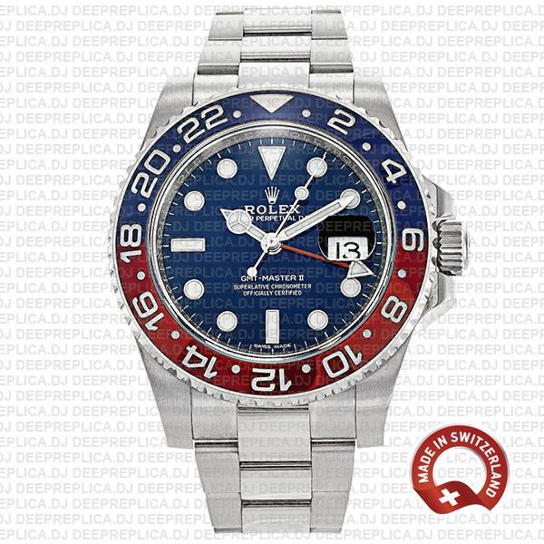 Rolex GMT-Master II 18k White Gold in Pepsi Red Blue Ceramic Bezel Blue Dial 40mm Replica Watch