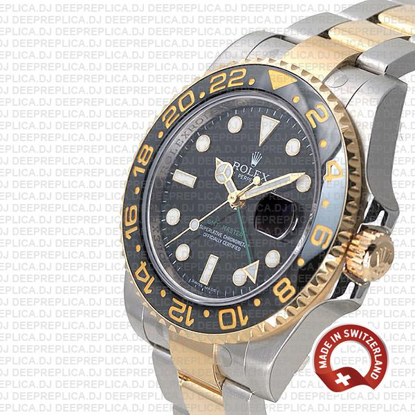 Rolex GMT-Master II Two-Tone 18k Yellow Gold, Black Dial Ceramic Bezel 904L Steel 40mm Replica